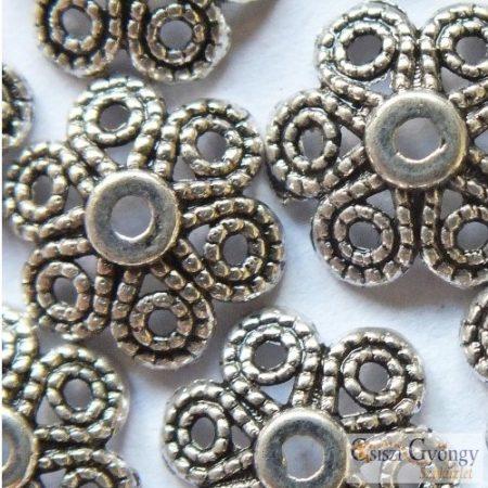 Inda gyöngykupak - 1 db - antik ezüst színű, mérete: 12mm