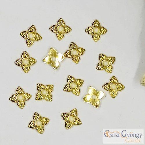 Leveles Gyöngykupak - 20 db - antik arany színű, mérete: 6 mm