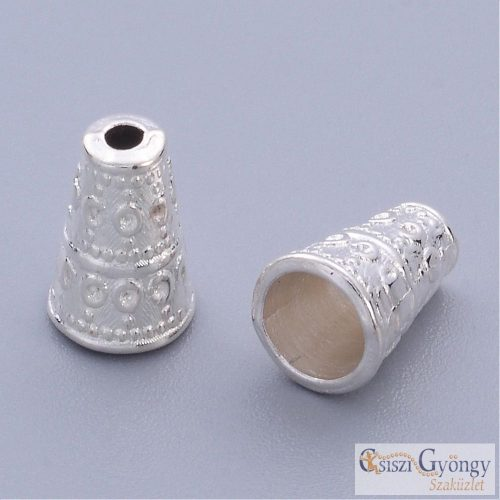 Gyöngykupak - 1 db - ezüst színű, 10x7 mm