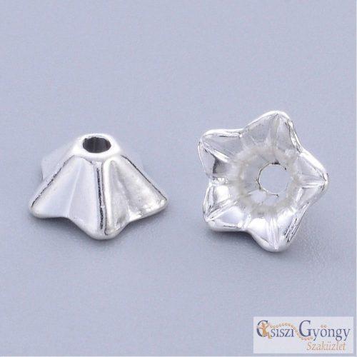 Gyöngykupak - 1 db - ezüst színű, 8x5 mm