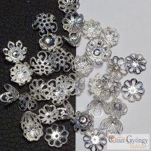 Gyöngykupak - 1 db - ezüst színű, 8x3 mm