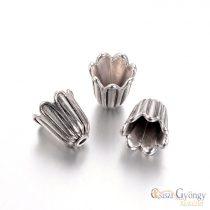 Gyöngykupak - 1 db - antik ezüst színű, 10x10 mm