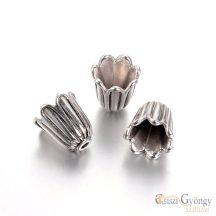Gyöngykupak - 10 db - antik ezüst színű, 10x10 mm