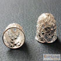 Gyöngykupak - 1 db - ezüst színű, 15x12mm