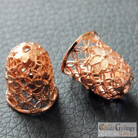 Gyöngykupak - 1 db- rosgold színű, mérete: 15x12 mm