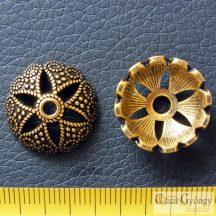 Nagy gyöngykupak - 1 db - sárgaráz színű antikolt, mérete: 18 mm