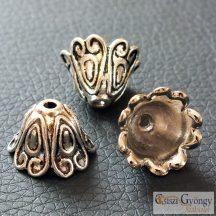Gyöngykupak - 1 db - antik ezüst színű, mérete: 15x11 mm