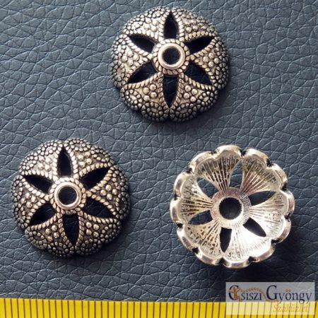 Gyöngykupak - 1 db - antik ezüst színű, méret: 20 mm