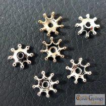 Csillag alakú gyöngykupak - 1 db - ezüst színű, méret: 8 mm
