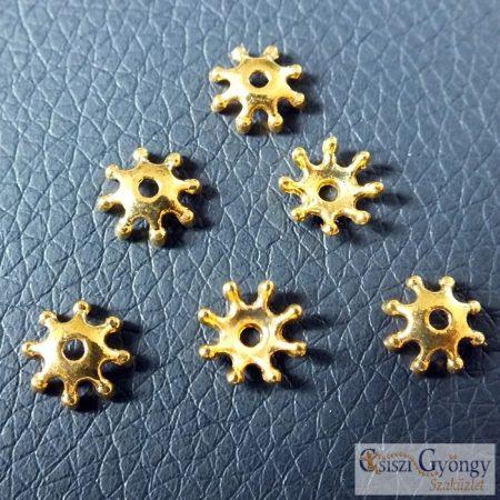 Csillag alakú gyöngykupak - 1 pcs. - sárgaréz színű, méret: 8 mm