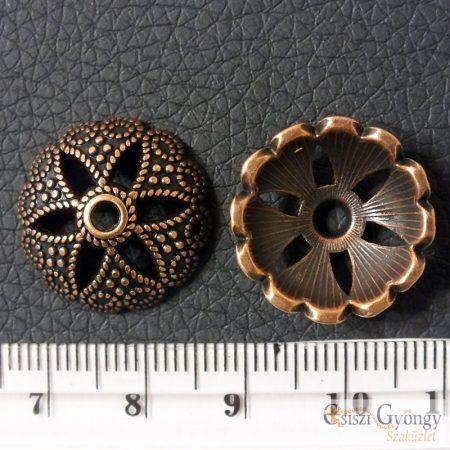 Nagy gyöngykupak - 1 db - bronz színű, méret 20 mm, furat: 2 mm