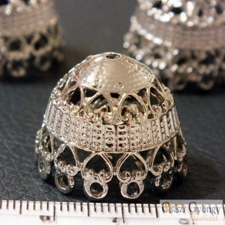 Nagy gyöngykupak - 1 db - fényes ezüst színű, mérete: 19x23 mm, furat: kb. 1 mm