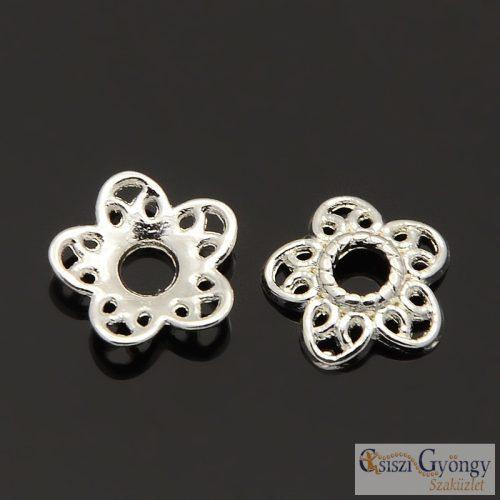 Koszorú - 1 db - ezüst színű gyöngykupak, 12mm