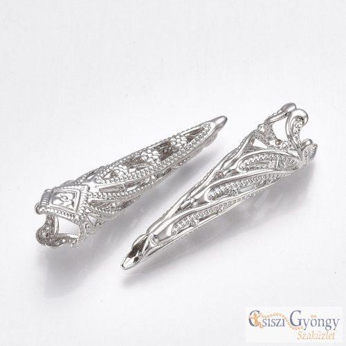 Hosszú gyöngykupak - 1 db - fényes ezüst színű, mérete: 34x9 mm