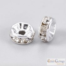 Spacer Rondelle - 1 pcs. - silver/crystal color, size: 6 mm