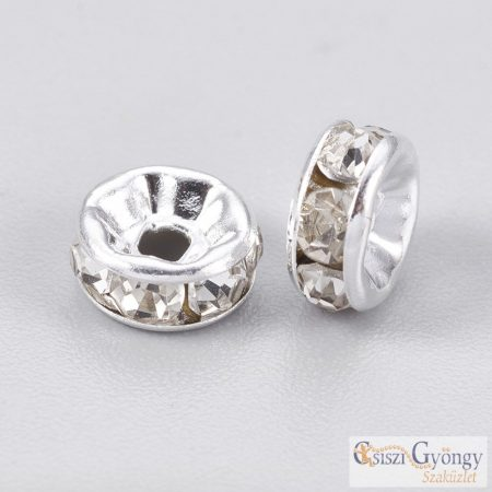 Ezüst / kristály színű Rondelle köztes - 1 db - 6 mm