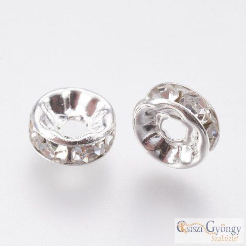 Ezüst/kristály színű Rondelle köztes - 1 db - 8 mm
