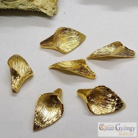 Kála alakú köztes gyöngy - 1 db - arany színű, mérete: 20 mm x 10 mm