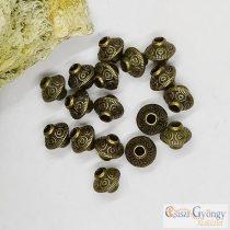 UFO köztes fém gyöngy - 1 db - antik réz színű, 6 mm