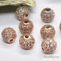 Rose Gold color round beads with Zirconia - 1 pcs. - size: 8 mm