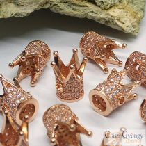 Rose Gold color Crown with zirconia - 1 pcs. - size: 12x10 mm