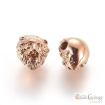 Rose gold color Lion Head, 304 Stainless Steel bead - 1 pcs. - size: 13x11 mm