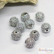 Sötétebb ezüst színű, cirkónia köves köztes golyó gyöngy - 1 db - 8 mm