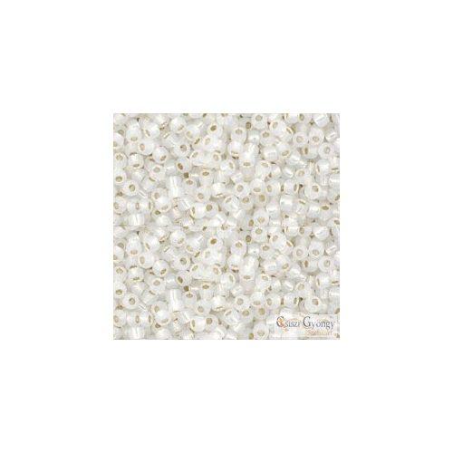 Silver Lined Milky White - 10 g - 11/0 Toho japán kásagyöngy (2100)