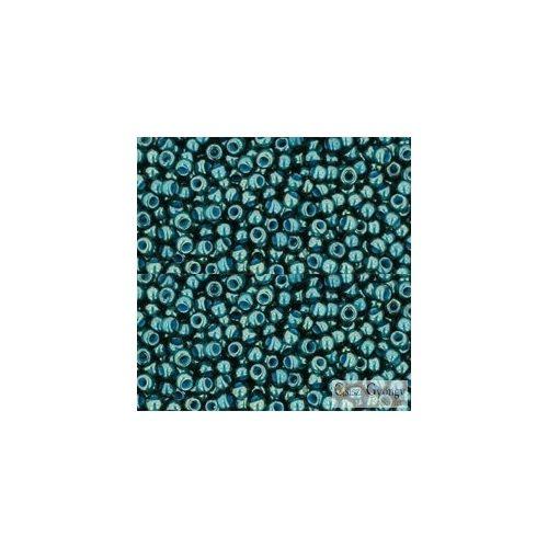 Transparent Luster Emerald Green Denim Blue Lined - 10 g - Toho japán kásagyöngy 11/0 (374)