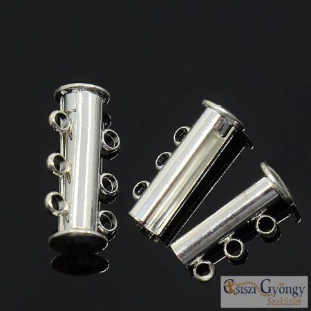 Mágneses csőkapocs 3 soros - 1 db - ezüst színű, mérete: 20x10mm