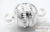Csíkos Mágneskapocs - 1 db - fényes ezüst színű, 13x8mm