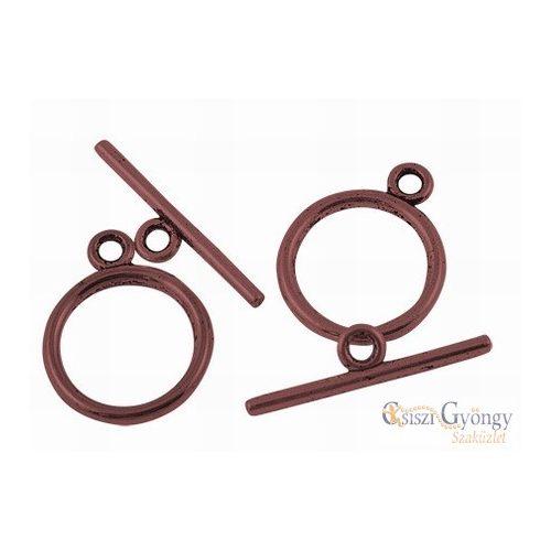 Egyszerű T-kapocs - 1 db - bronz színű, mérete: 15 mm (nikkel, ólom és cadmium mentes)