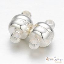 Brass Magnetic Clasp - 1 pc. - oval, silver color, size: 7x11mm