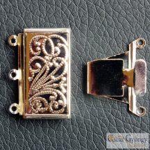 Box kapocs - 1 db - ezüst színű, 3 soros, mérete: 21x23mm