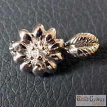 Virágos mágnes kapocs - 1 db - ezüst színű, mérete: 25 mm