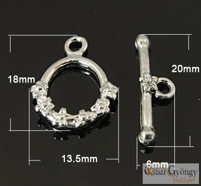 Virágos T-kapocs - 1 db - ezüst színű, kb. 18 mm