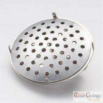 Karmos kitűző alap - 1 db - ezüst színű, kerek, 26mm