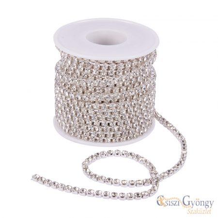 Rhinestone Strass Chain - 10 cm - Crystal color, 3 mm