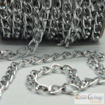 Alumínium lánc - 20 cm - fényes ezüst színű, szemnagyság: 9,3x5,3 mm