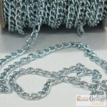 Alumínium lánc - 20 cm - fényes kékes ezüst színű, szemnagyság: 6x3mm