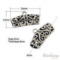 Tibetan Style Hanger - 2 pc. - antique silver color, size: 24x14 mm