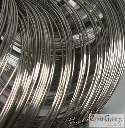 Nickel színű memória drót karkötő alap, 10 karika, átmérő: 5.5 cm, drót vastagság: 0.6 mm,