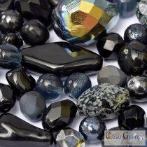 Csiszi Gyöngymix: fekete/szürke/ezüst - 20 g - cseh üveggyöngyök