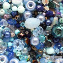 Csiszi Gyöngy Mix: kék/ezüst - 20 g - cseh üveggyöngyök