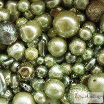 Oliva - 20 g - Tschechische Glaswachsperlen Mix