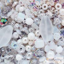 Fehér/Kristály Üveggyöngy Mix - 20 g - cseh, üveg gyöngymix