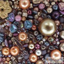 Csiszi Gyöngymix: barna/arany - 20 g - cseh üveggyöngyök