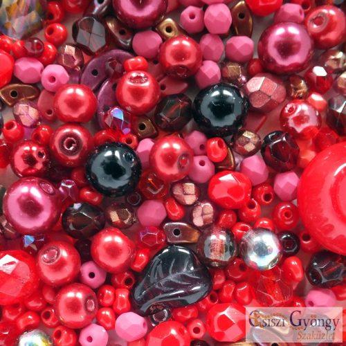 Csiszi Gyöngymix: piros/fekete - 20 g - cseh üveggyöngyök