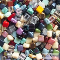 Tile & Silky Bead Mix - 90 g (ca. 370 pc. Beads) - Silky and Tile beads, size: 6 mm