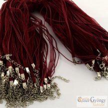 Bordó - 1 db - Kész nyaklánc alap, organza szalag és 3 db kordszál, 43 cm hosszú